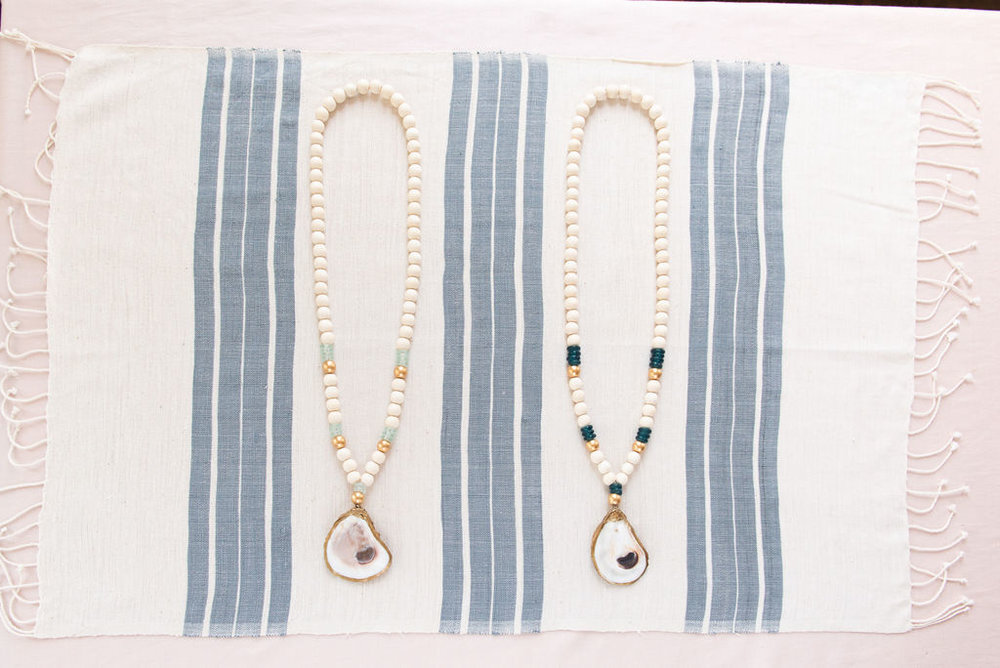 Edisto Gilded Oyster Necklace with Recycled Glass Beads